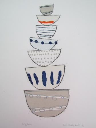 Seven stacking bowls close up