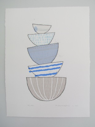 Five blue stacking bowls