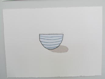 Stripey blue rice bowl