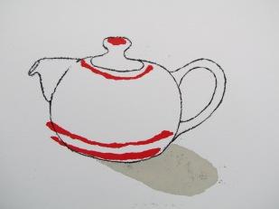 tripe teapot (red)