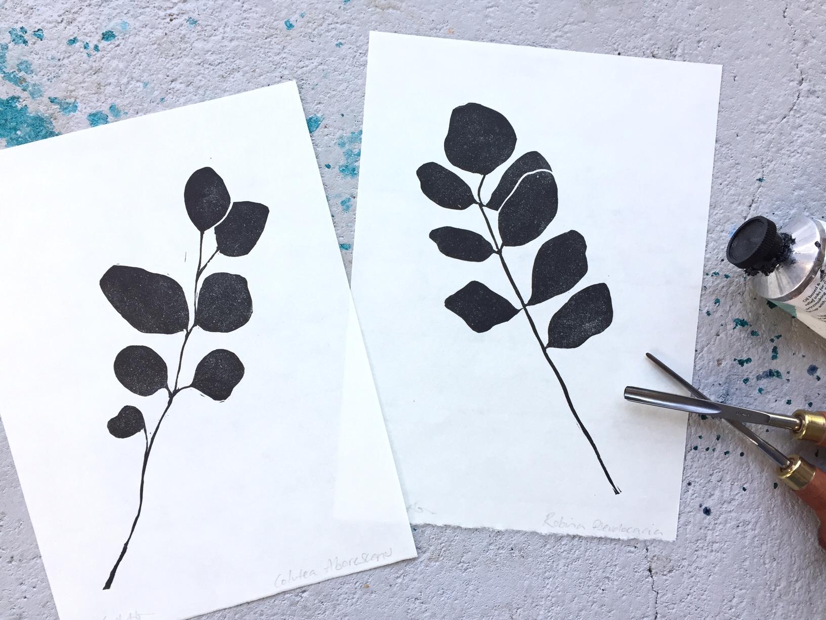 leaf print lino