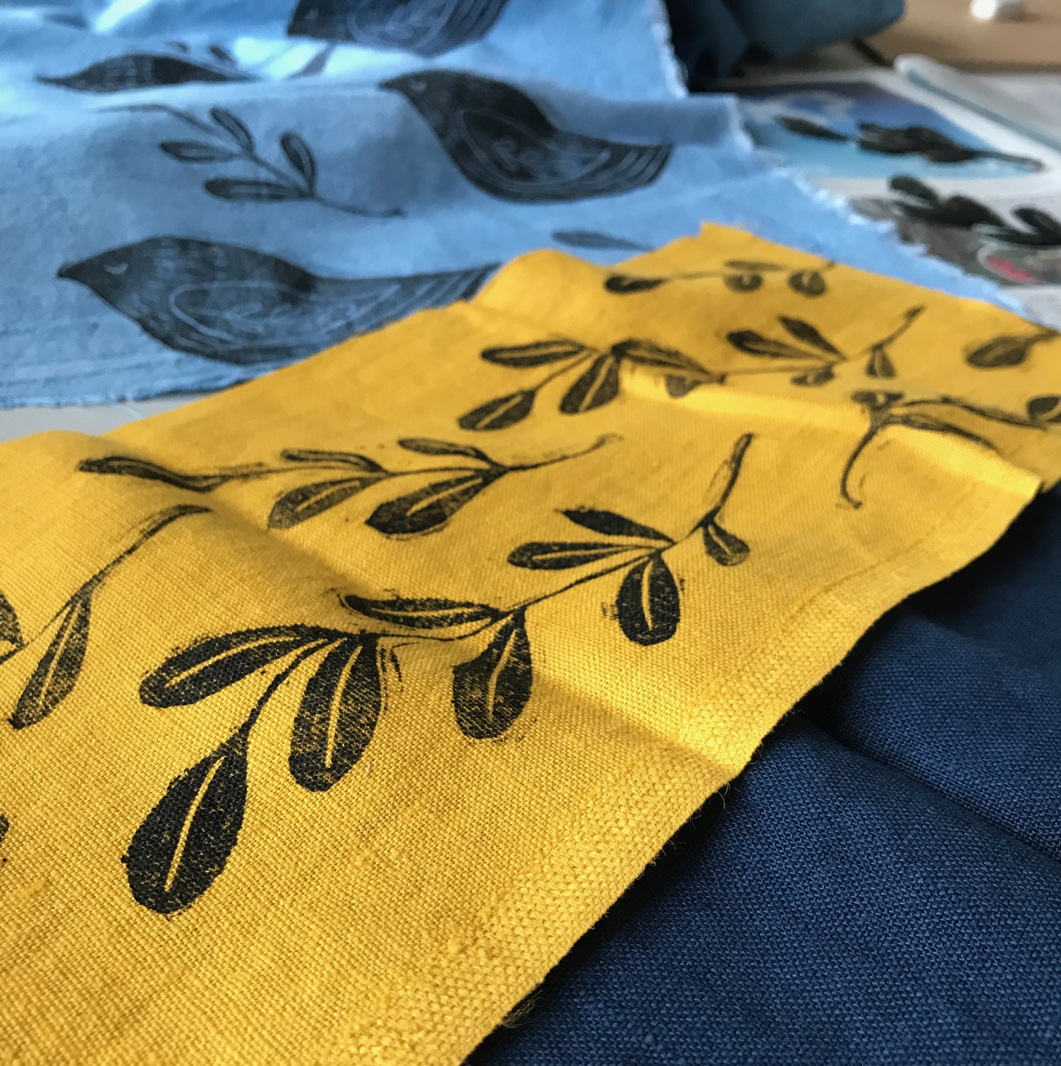 block print on fabric